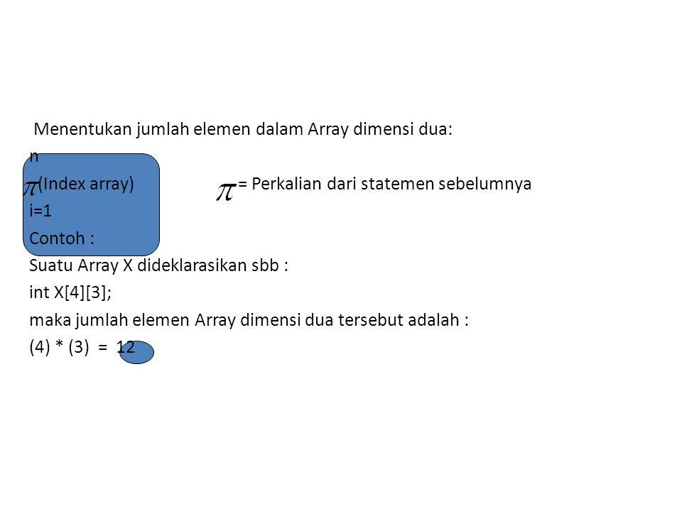 Menentukan jumlah elemen dalam Array dimensi dua: n (Index array) = Perkalian dari statemen sebelumnya i=1 Contoh : Suatu Array X dideklarasikan sbb : int X[4][3]; maka jumlah elemen Array dimensi dua tersebut adalah : (4) * (3) = 12